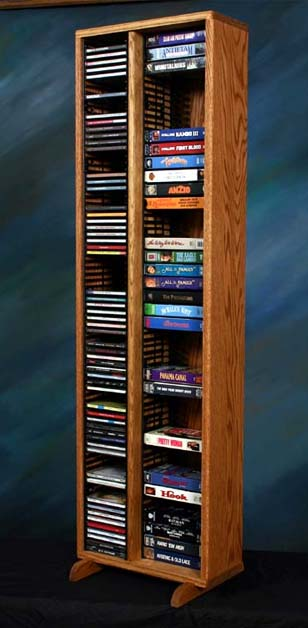 Wood Shed Solid Oak Tall Cd Dvd Vhs Storage Rack Various