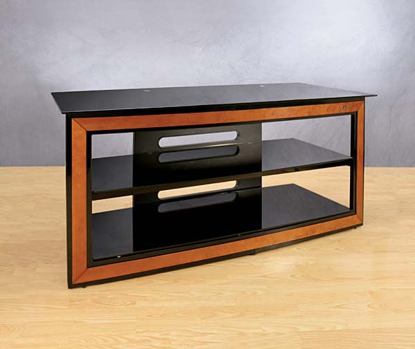 Bello Metal and Glass Flat Panel TV Stand with Cherry Wood Accents for up to 56 inch TVs AVSC-2124