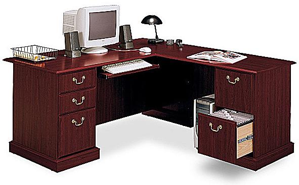 Bush Saratoga Executive Collection L Desk Harvest Cherry