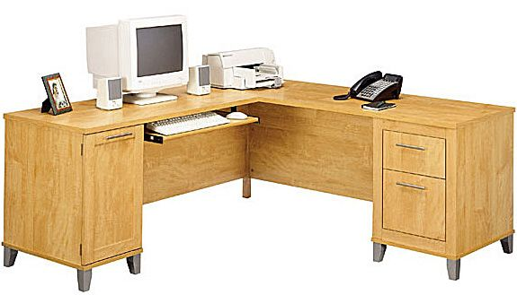 Bush Somerset Collection 71 inch L-Desk (Maple Cross) WC81410-03