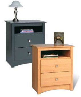 Prepac sonoma collection extra tall 2 drawer night stand for Extra tall nightstands
