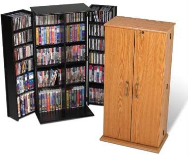 Prepac Medium Deluxe CD DVD VHS Cabinet VS-0205 Oak or Black