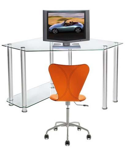 Rta Glass Corner Computer Desk Clear Or Black Glass Ct 013