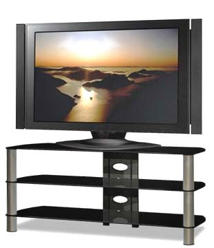 view a larger image of the tech craft sorrento series silver and black glass tv stand