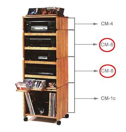 Wood Technology CM Series Multimedia Storage Cabinet Ebony or Oak CM-8