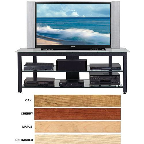 Wood Technology 63 inch-Wide Glass Audio Video Rack / TV Stand MGV-63BLK