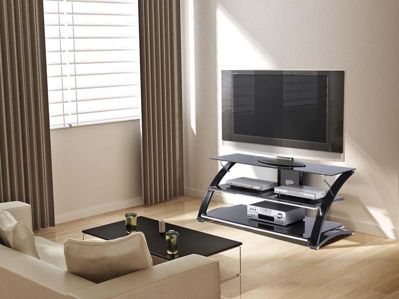Z Line Designs Vitoria 3 Shelf Black Glass TV Audio Stand