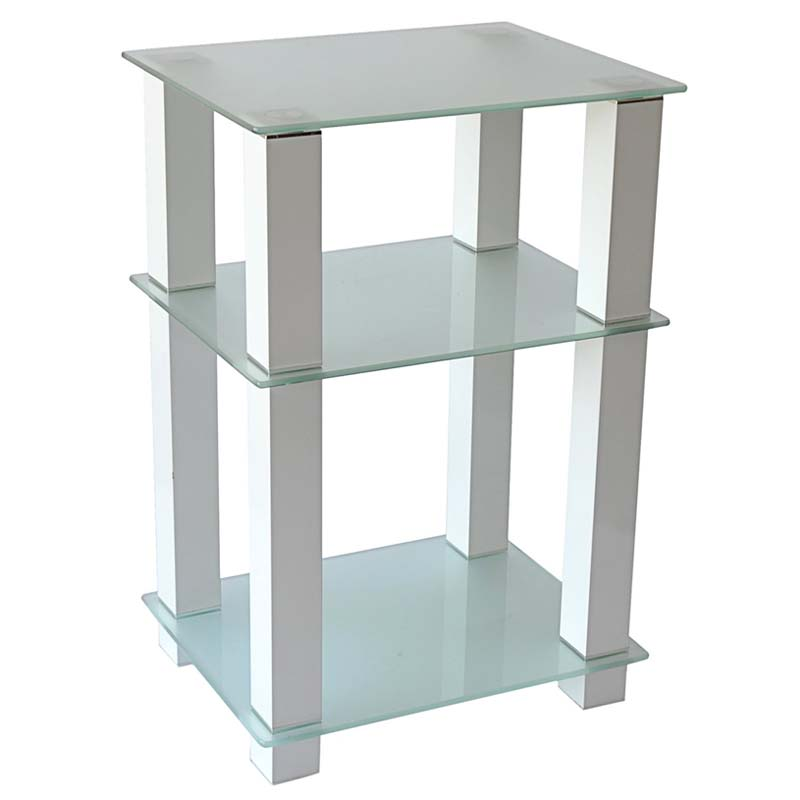 RTA Extra Tall Frosted Glass And Aluminum 27 Inch TV Stand