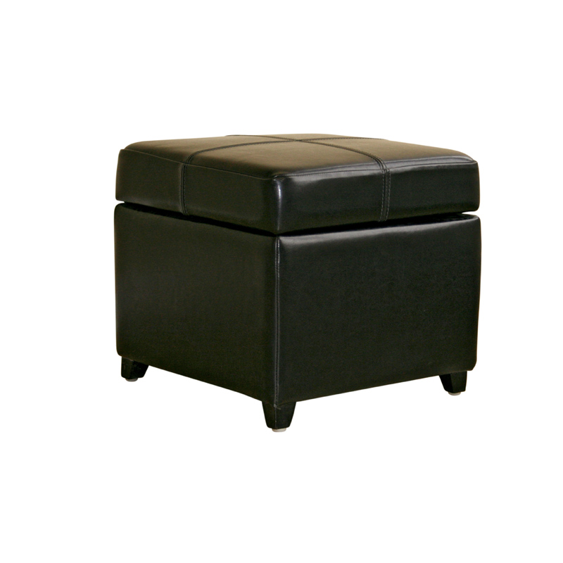 interiors bicast leather storage ottoman black 0380 j023 black