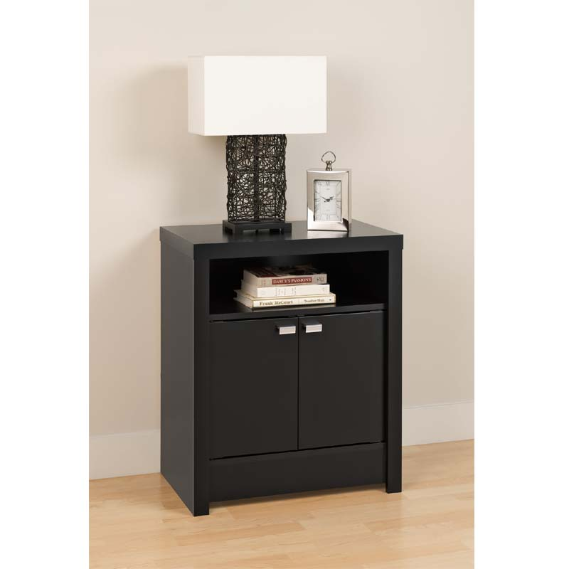 Prepac series 9 designer 2 door tall night stand black for Extra tall nightstands