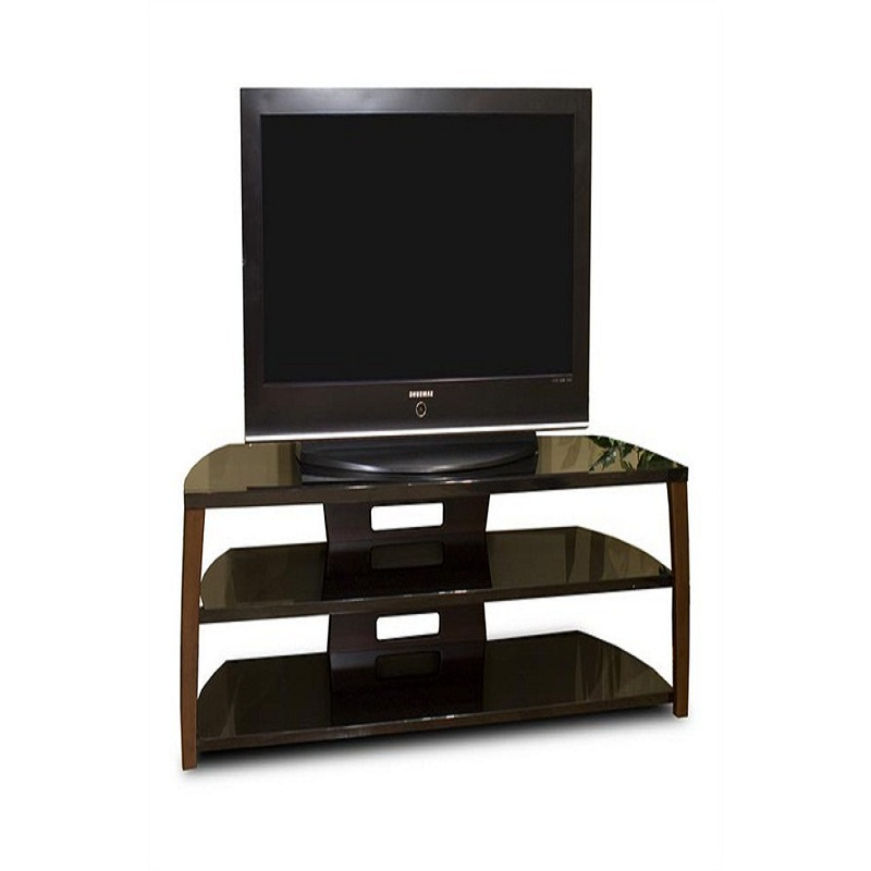 Tech craft monaco walnut black glass tv stand for 51 60 for Tech craft tv stands