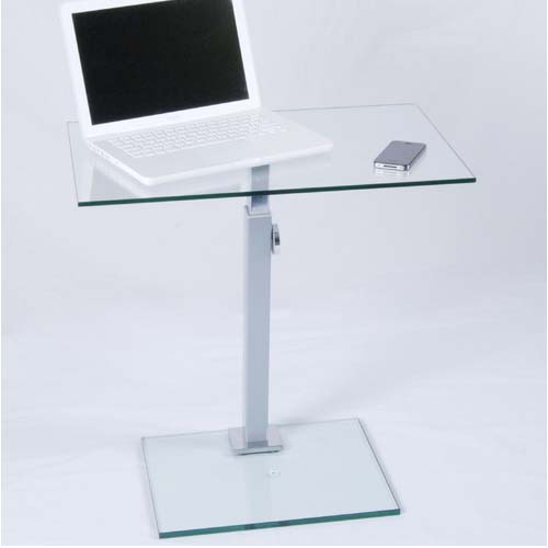 Rta Tier One Designs Clear Glass Laptop Stand Silver T1d 117