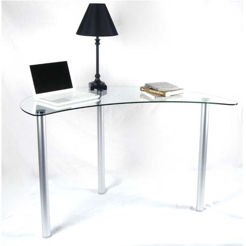 Rta Tier One Designs Clear Glass Corner Computer Desk