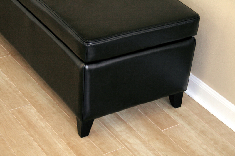 Wholesale Interiors Bicast Leather Storage Ottoman Black 125 J023 Black