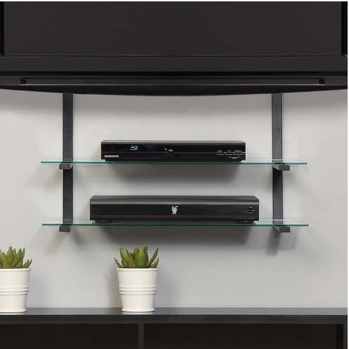 Wall Mounted Tv With Wall Mounted Shelves Home