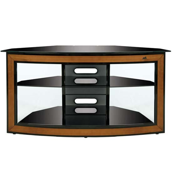 Black glass and wood trim 46 in corner tv stand cherry avsc2121