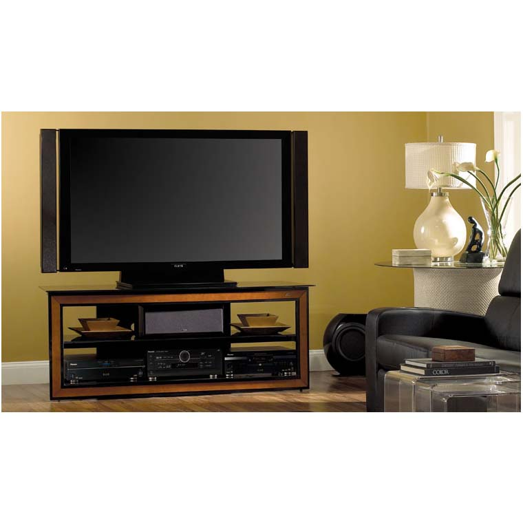 Bello Versatile Black Glass And Wood Trim 65 Inch Tv Stand