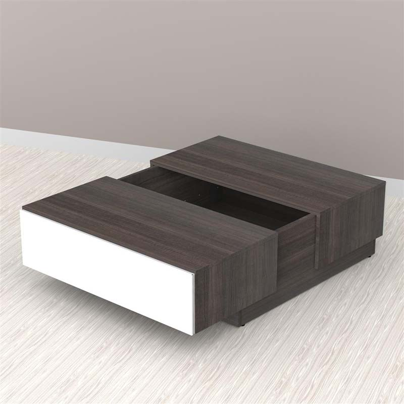Nexera Allure Collection Coffee Table With Storage White And Ebony 220733