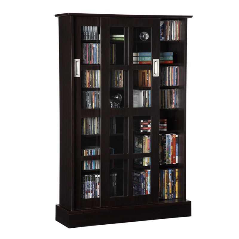 Series Wood Media Cabinet With Sliding Glass Doors Espresso 94835721