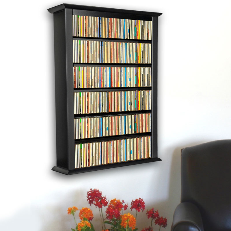Venture horizon single wall mounted media cabinet black for Wall hung media cabinet