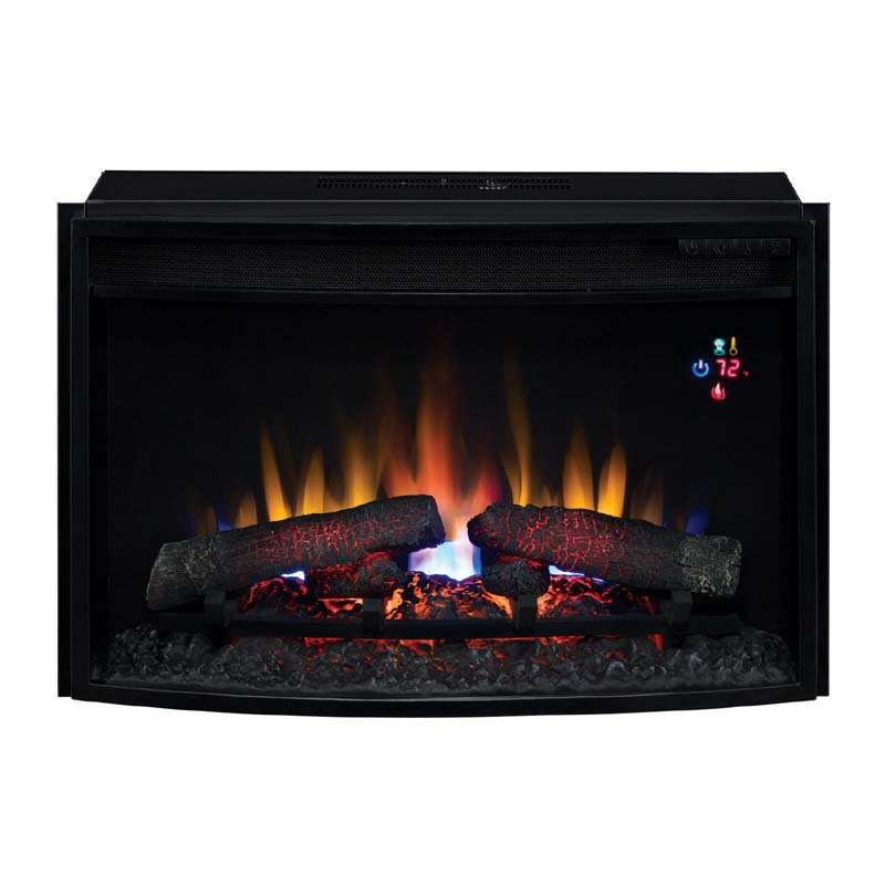 Classic Flame Curved Front 25 Inch Electric Fireplace Insert With Remote Black 25ef023gra