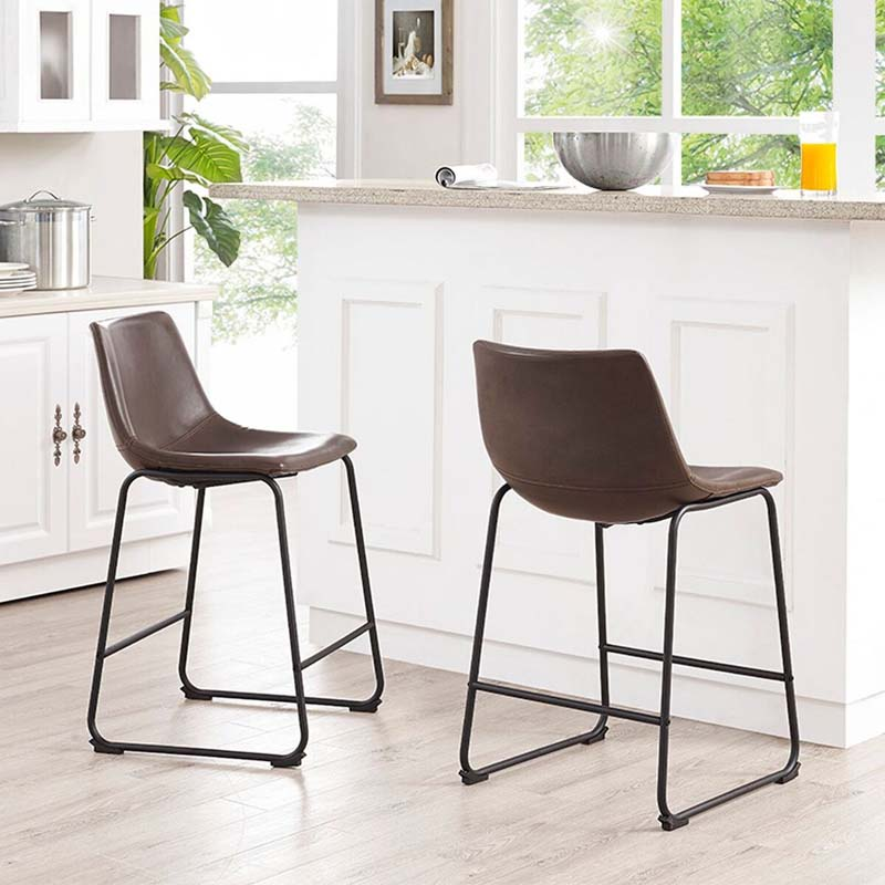 Faux Leather Brown Counter Stool Set Of 2 Dining Room Bar: Walker Edison Faux Leather Counter Stools Brown Set Of 2