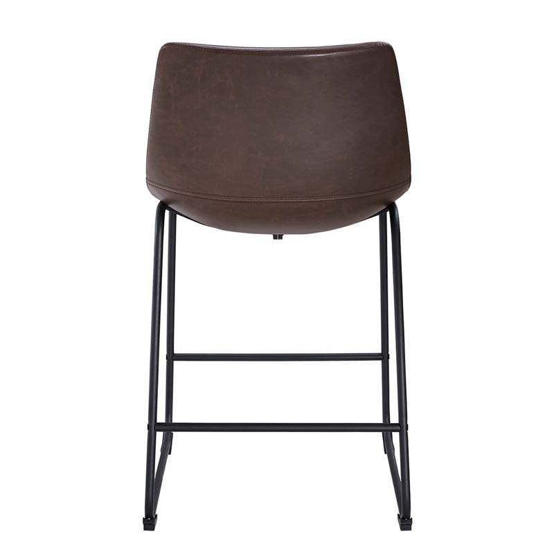 walker edison faux leather counter stools brown set of 2 chl26br. Black Bedroom Furniture Sets. Home Design Ideas