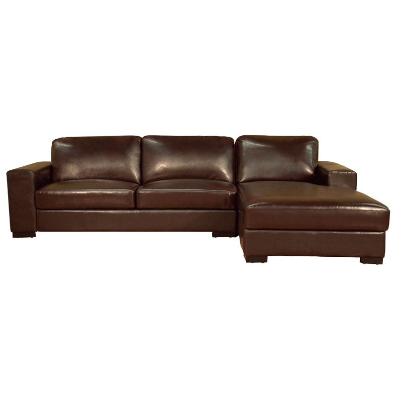 Object moved for Brown leather chaise lounge