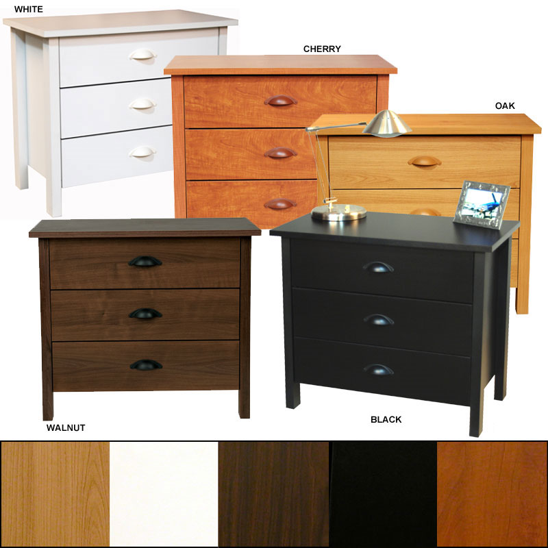 venture horizon white finish 3 drawer chest 2