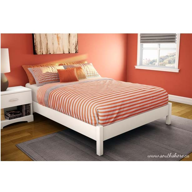 Southshore Step One Collection Full Size Platform Bed Pure