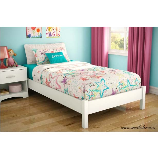 Southshore Step One Collection Twin Size Platform Bed Pure