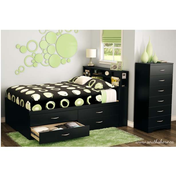 full size bookcase captains day bed with trundle step one collection captain drawers pure black twin storage