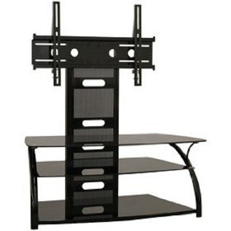 tech craft solution series curved black glass tv stand and mount for 20 42 inch screens lcd42. Black Bedroom Furniture Sets. Home Design Ideas