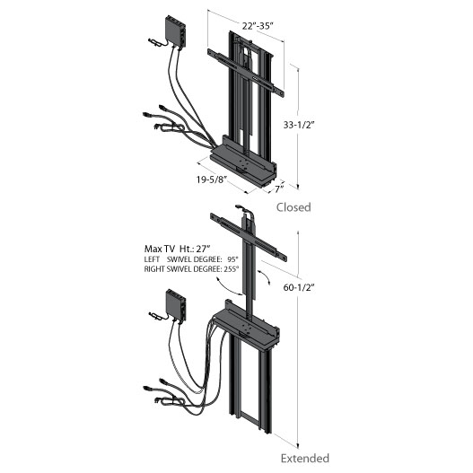 Tv lift cabinet 360 degree electric swivel tv mount 3250sw for Motorized tv lift with swivel