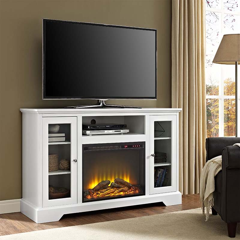 Walker Edison Highboy Tv Stand With Electric Fireplace White W52fp32wh