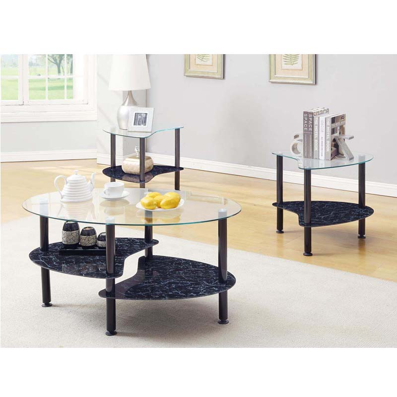 Black Marble Coffee Table Set: Innovex Crescent Series Coffee Table And 2 End Table Set
