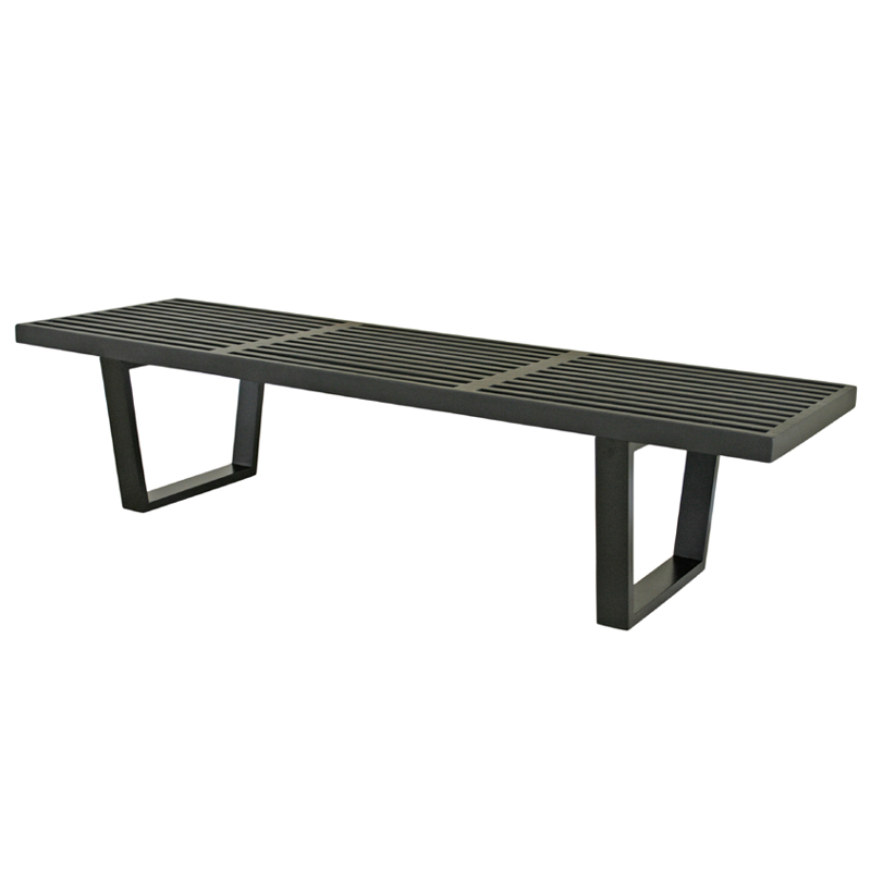 Wholesale Interiors Nelson Style Wooden Bench Black 4015 2