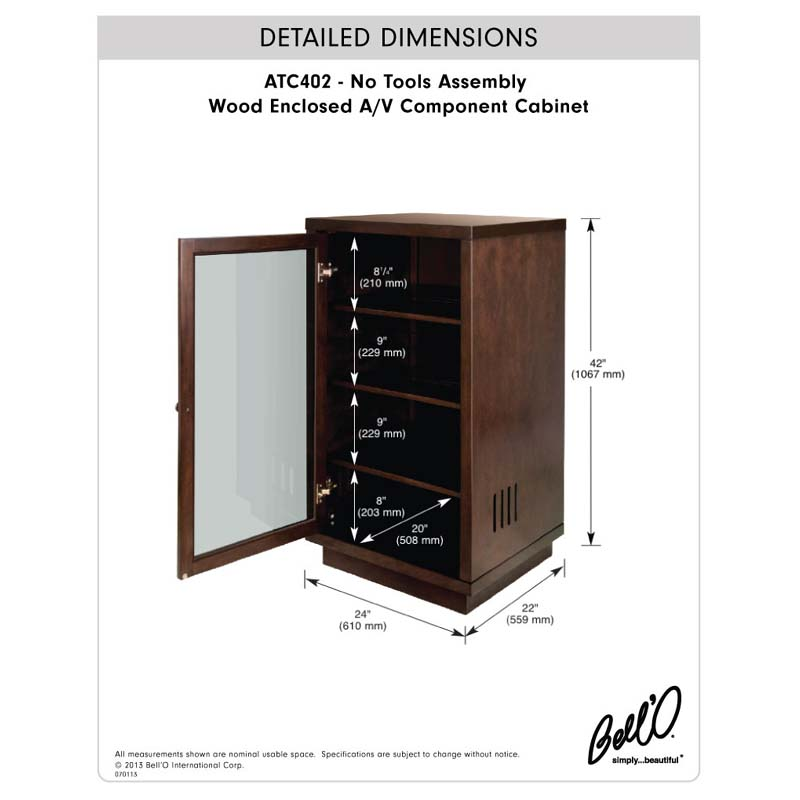 Bello No Tools Assembly Wood Audio Video Cabinet Dark