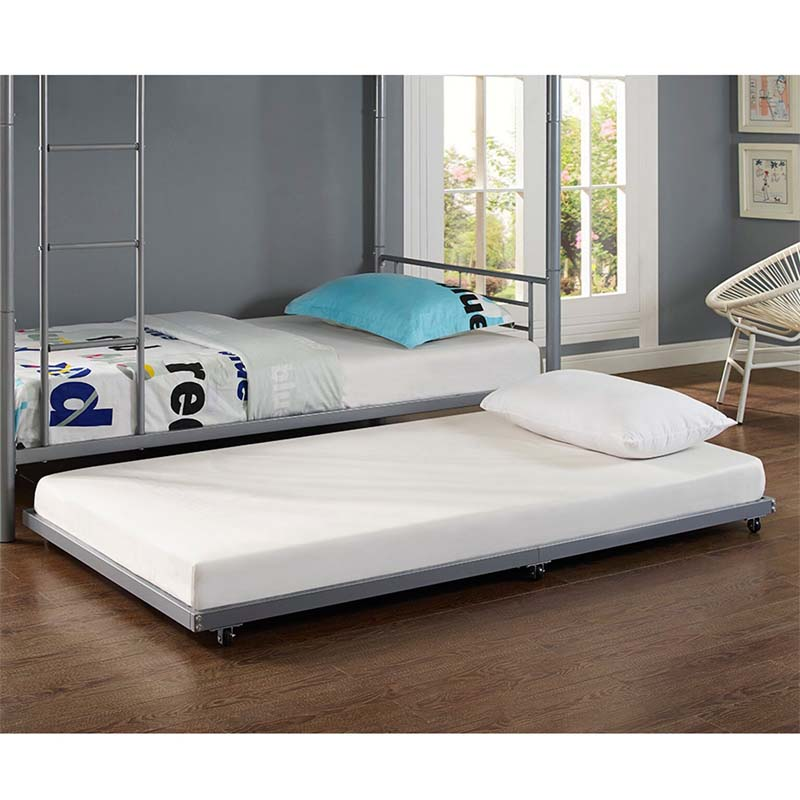 walker edison twin roll out trundle bed frame silver bt40tbsl