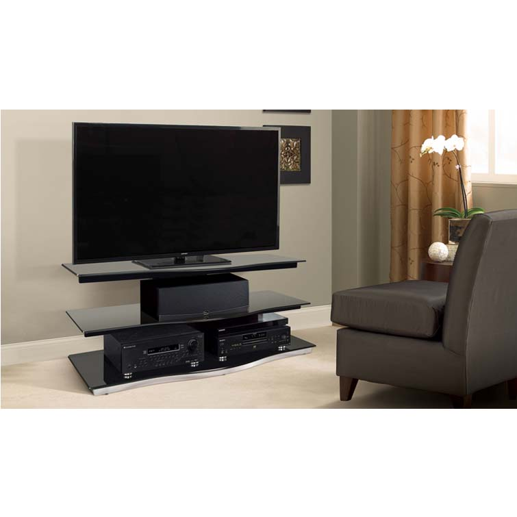 bello modern curved front black glass 55 inch tv stand black pvs4252