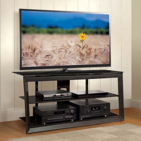 Bello Versatile Black Glass 55 Inch TV Stand Dark Pewter