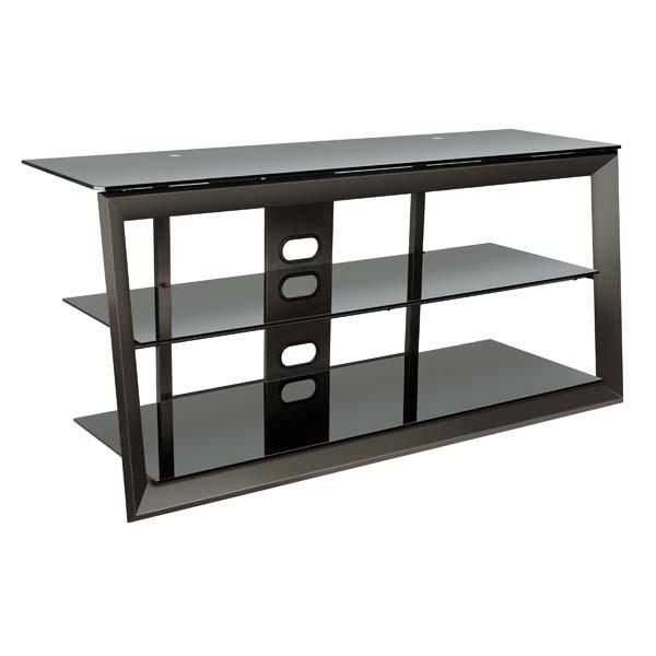 bello versatile black glass 55 inch tv stand dark pewter pvs4257. Black Bedroom Furniture Sets. Home Design Ideas
