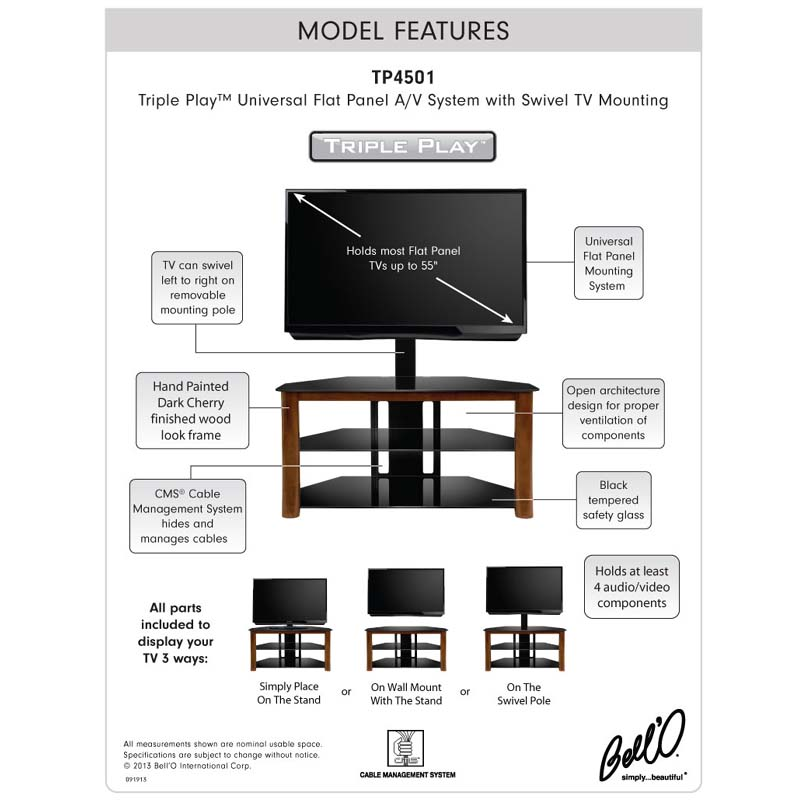 4501info bello triple play universal flat panel tv stand with swivel mount Electric Fireplace Electrical at readyjetset.co