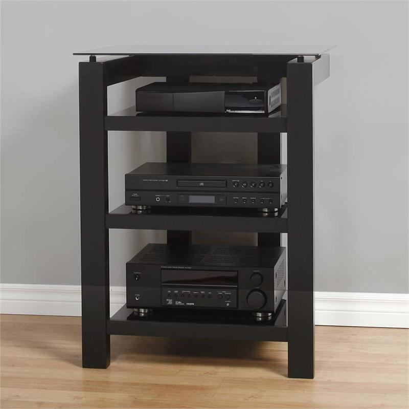 plateau sl series black floating glass and wood 4 shelf audio rack clear or black glass sl 4a. Black Bedroom Furniture Sets. Home Design Ideas