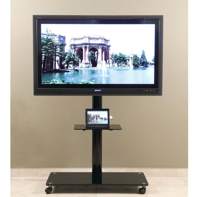 transdeco 65 in tv stand with attached mounting system black td570b. Black Bedroom Furniture Sets. Home Design Ideas