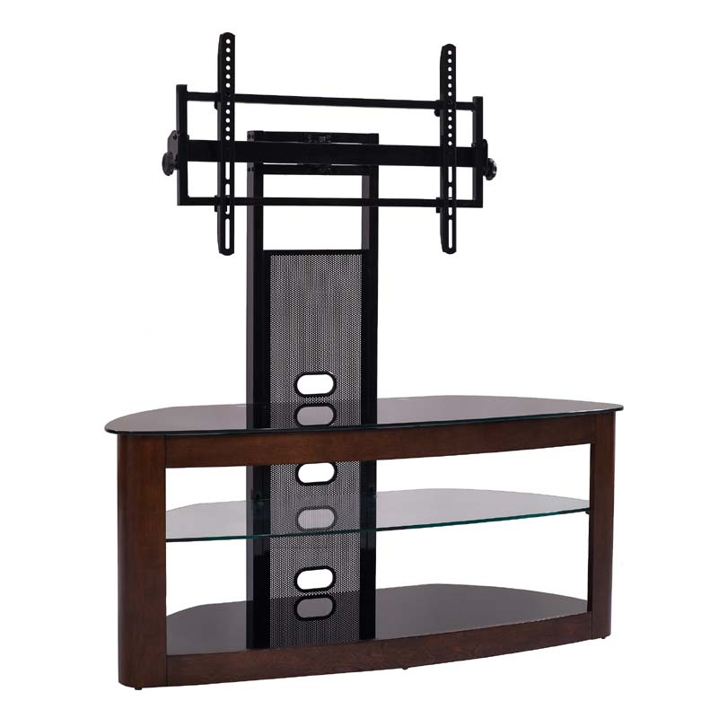 Transdeco Glass Tv Stand With Mounting System For 35 To 65 Inch Screens Dark Oak And Black Td600db
