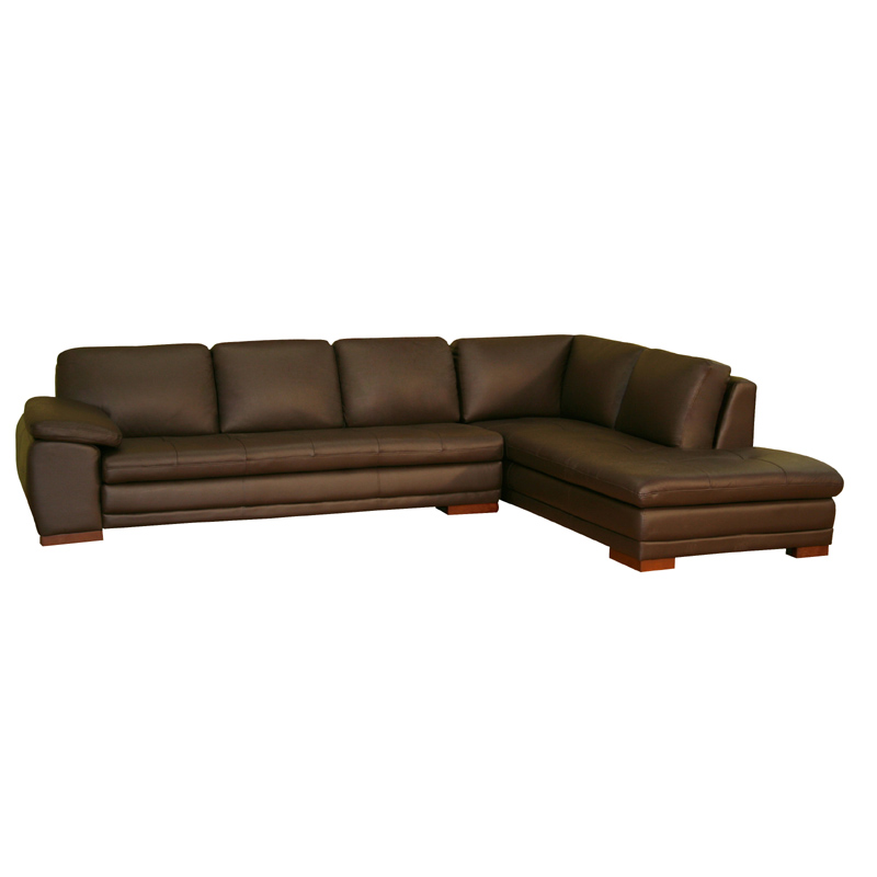 Wholesale interiors leather sofa with chaise dark brown for Chaise leather lounge