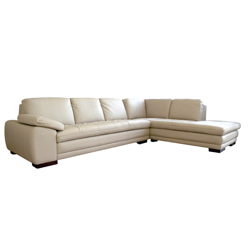 Wholesale interiors leather sofa with chaise biege 625 for Couch with 2 chaises