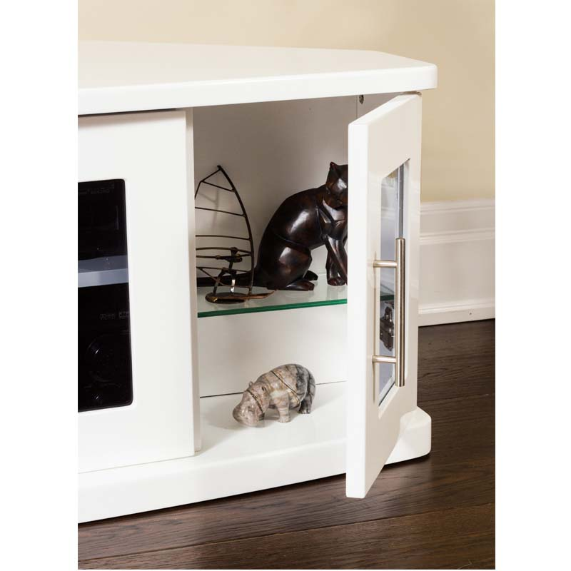 plateau newport corner wood tv cabinet with glass doors for 42 62 inch screens white newport 62white. Black Bedroom Furniture Sets. Home Design Ideas