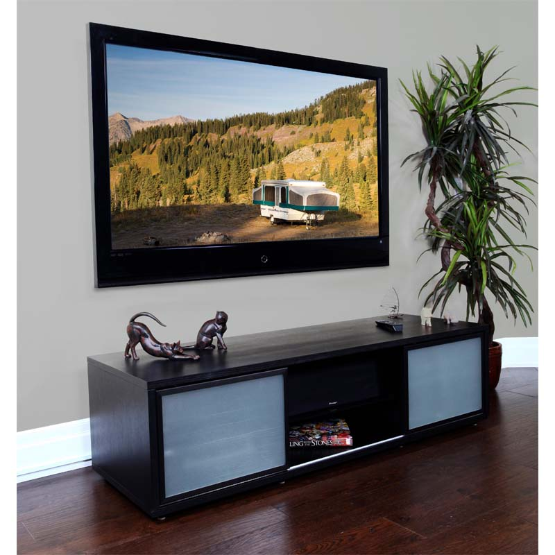 plateau sr series retro tv cabinet with glass doors for 48 65 inch screens black sr v65 b. Black Bedroom Furniture Sets. Home Design Ideas